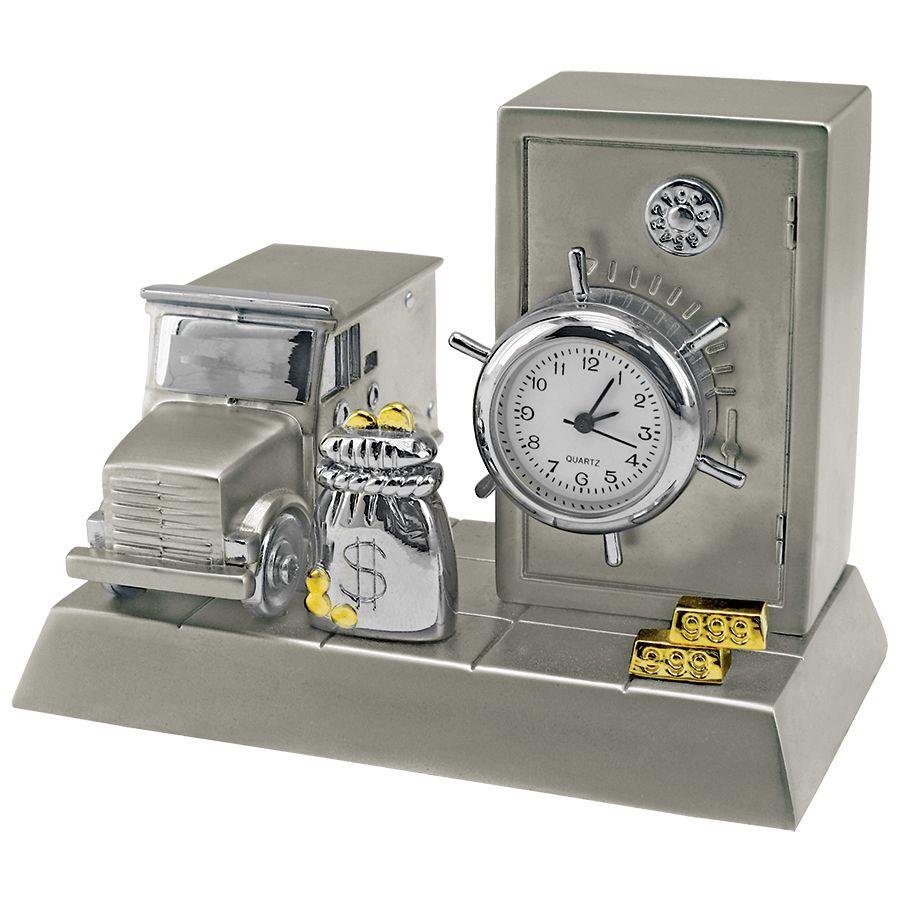 Часы «Банк»; 8,8х5,6х6,6 см; металл; лазерная гравировка