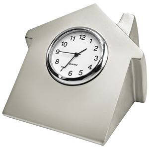 Часы «Домик»; 7х6,6х5,2 см; металл; лазерная гравировка