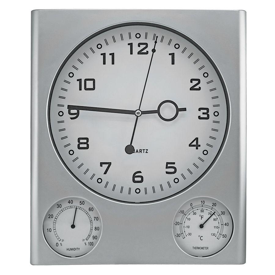 Фотография товара Часы настенные с термометром и гигрометром; 26,6х3,1х31,1 см; пластик; без элементов питания