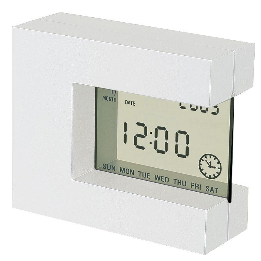 Часы настольные «Перевертыш» с календарем, будильником, таймером и термометром; 11х9,5х4см; пластик