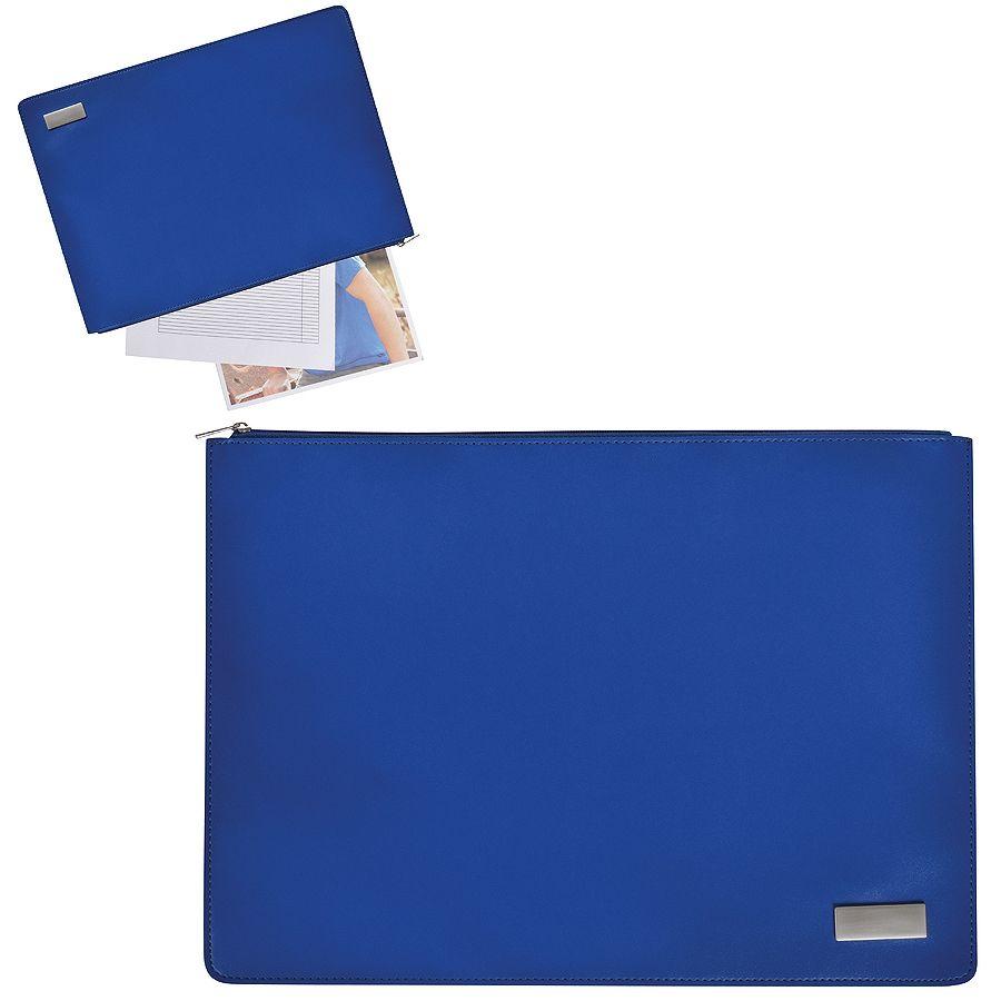 Папка на молнии «Конференция» , формат А4,  иск. кожа, синий, шильд, лазерная гравировка