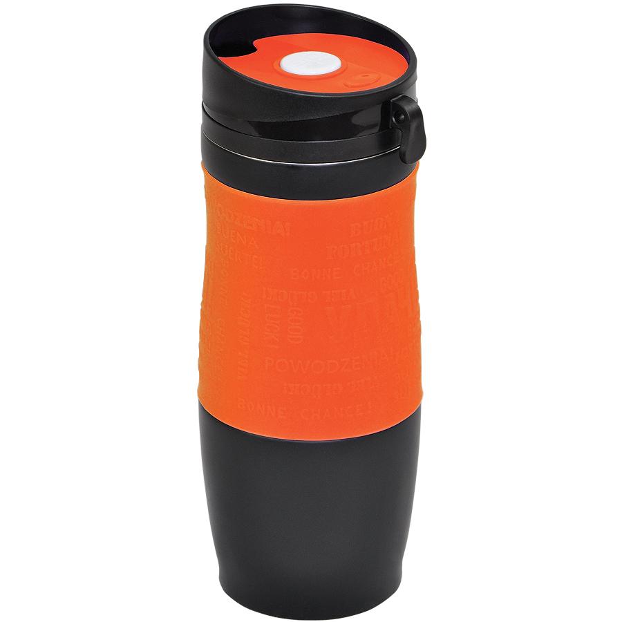 Фотография товара Термокружка вакуумная «УДАЧА»,  400 мл, оранжевый, металл/силикон