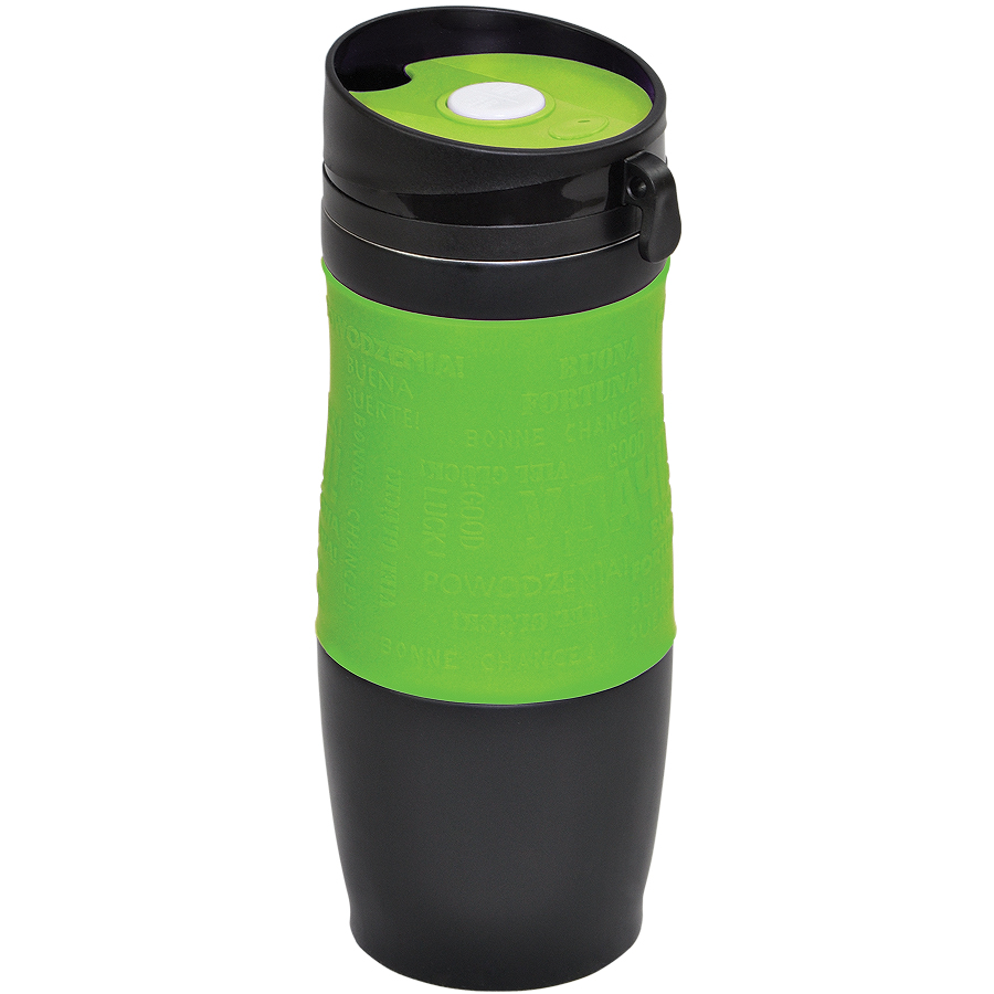 Термокружка вакуумная «УДАЧА»,  400 мл, зеленый, металл/силикон