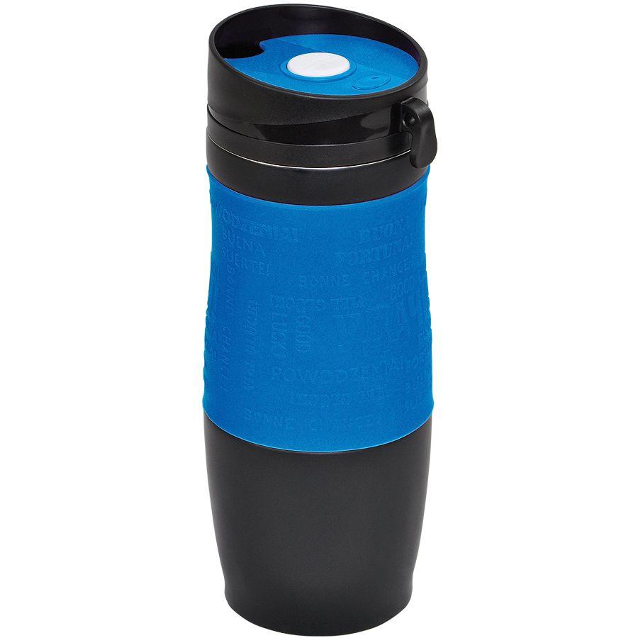 Термокружка вакуумная «УДАЧА»,  400 мл,  синий, металл/силикон