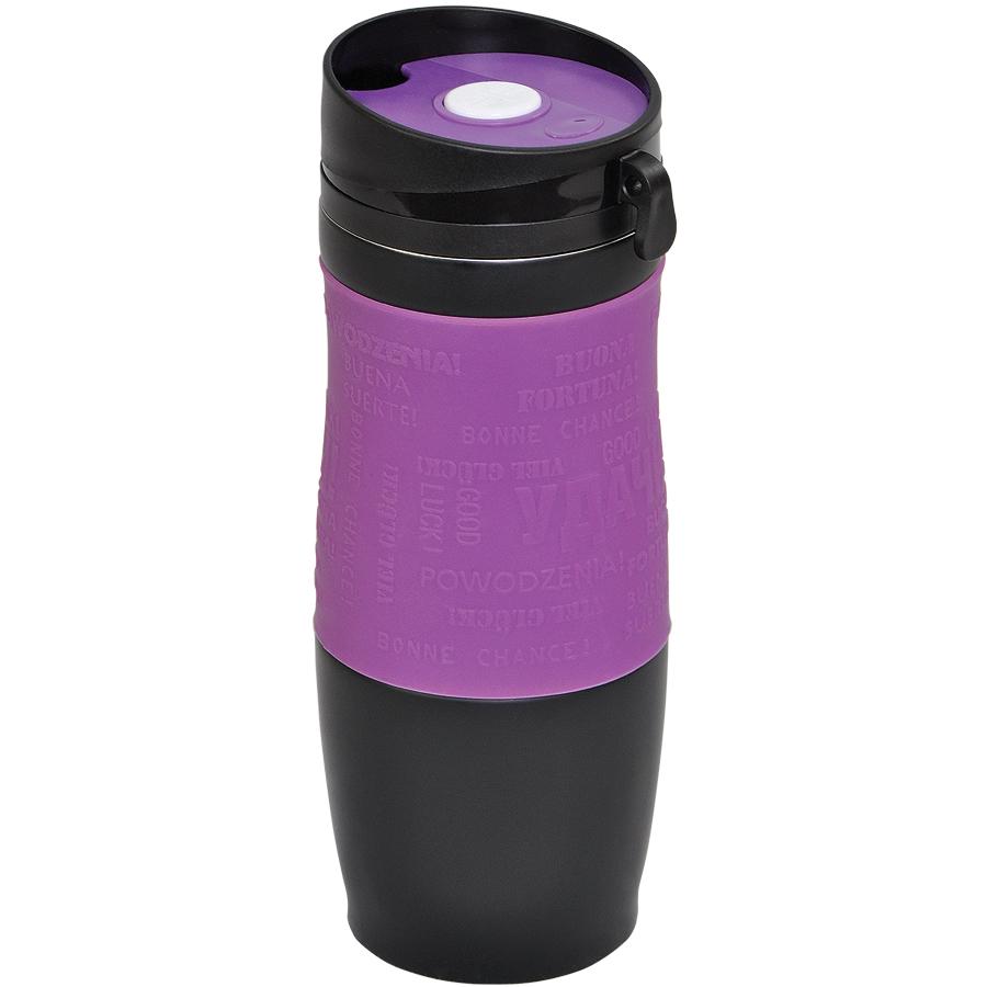 Термокружка вакуумная «УДАЧА»,  400 мл,  фиолетовый, металл/силикон