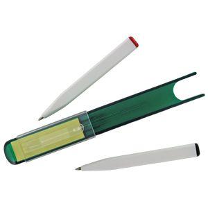 Футляр с двумя авторучками и листиками для записи post-it; зеленый; 15,1х2,1х1,9 см; пластик; тампоп