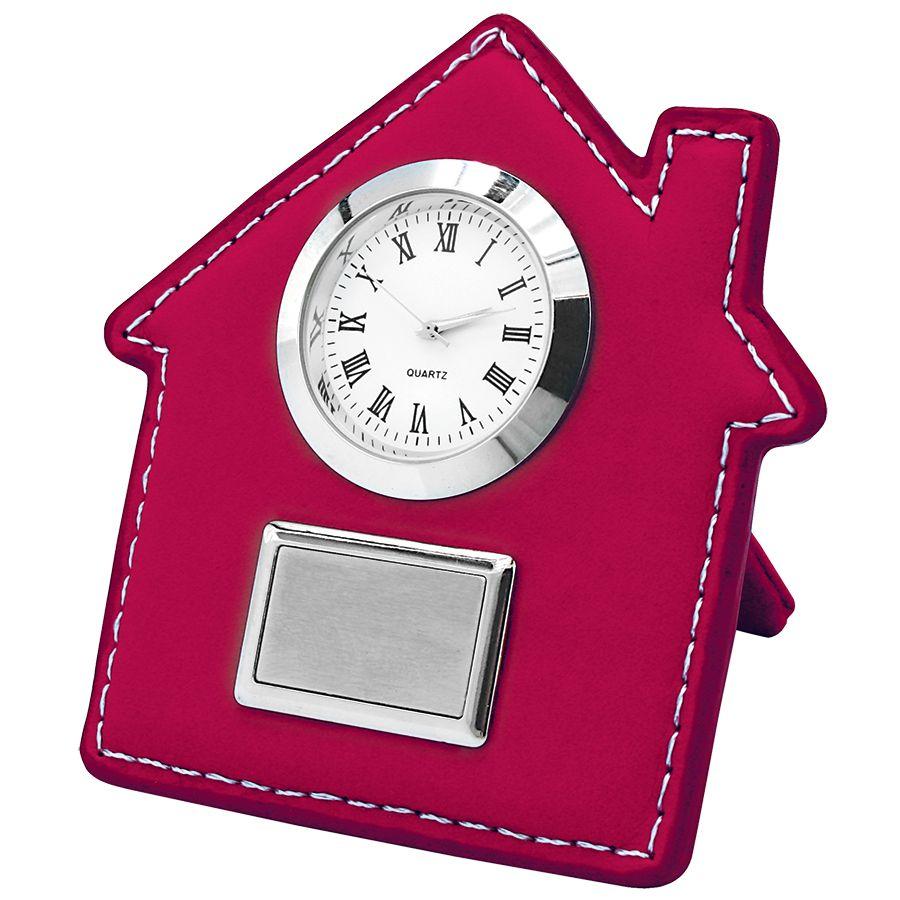 Часы настольные «Домик»; красный; 7,5х9 см; искусственная кожа, металл; лазерная гравировка