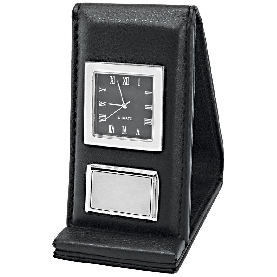 Часы настольные/дорожные «Бизнес-класс»;  5х2х9,5 см; металл, искусств. кожа; лазерная гравировка