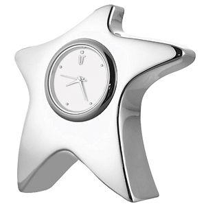 """Часы """"Звездочка""""; 8,6х2,3х8,2 см; посеребренный металл; лазерная гравировка"""