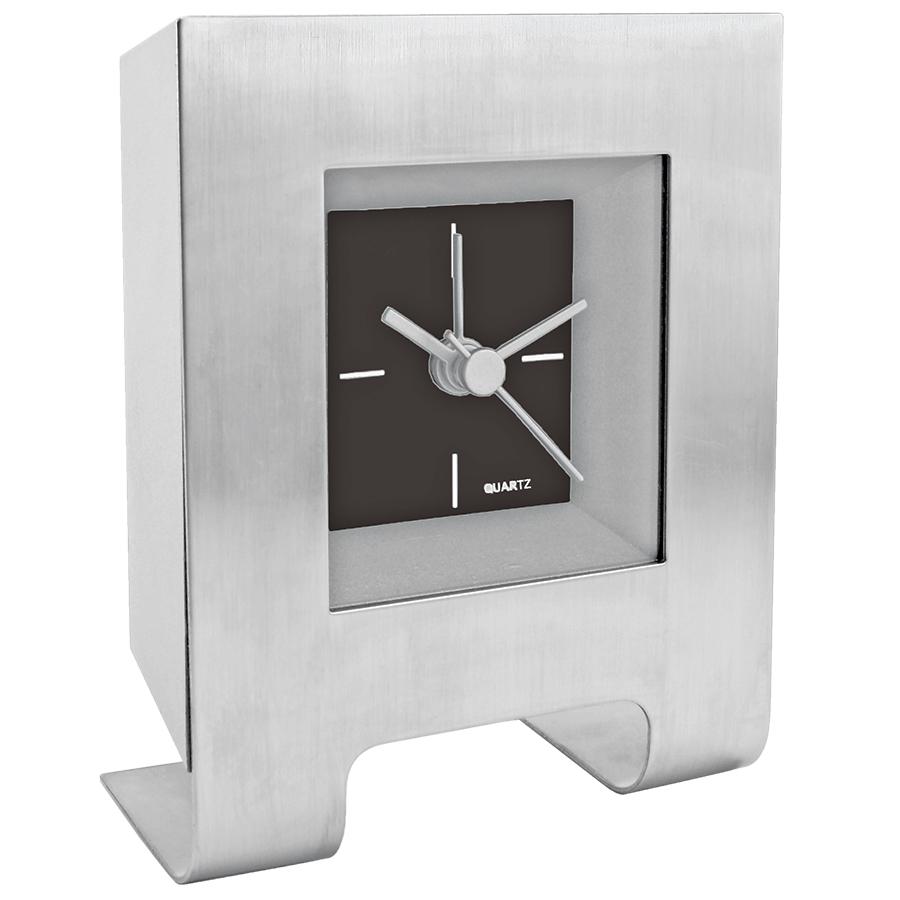 Часы настольные с будильником «Дизайн»; черный; 8,5х4,5х11 см; металл, пластик; лазерная гравировка