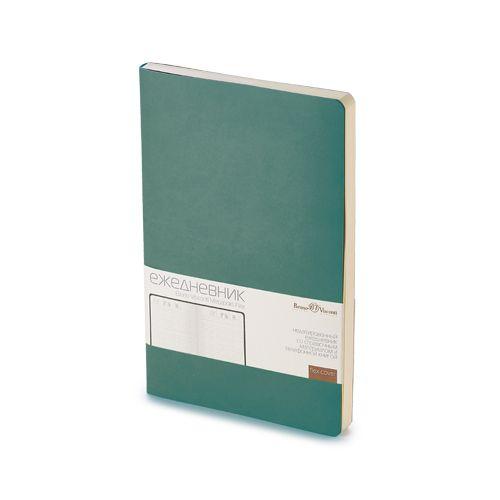 Ежедневник недатированный Megapolis Flex, А5, зеленый, бежевый блок, без обреза