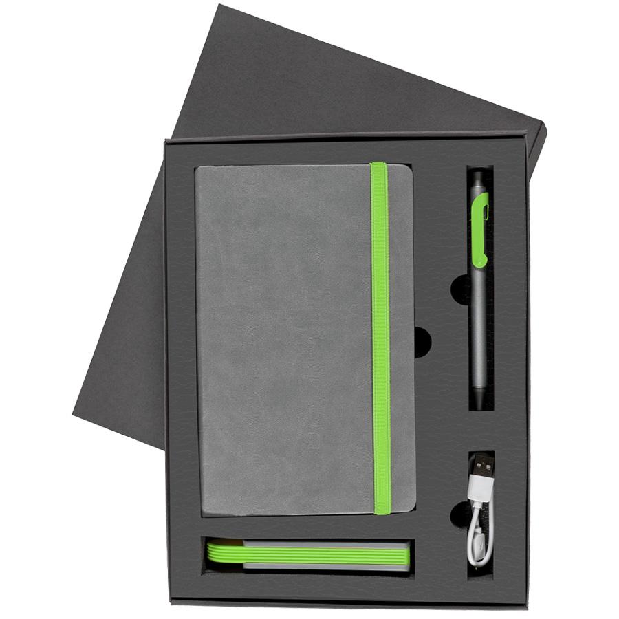 Набор  FANCY:универсальное зарядное устройство(2200мАh), блокнот и ручка в подарочной коробке,зелены