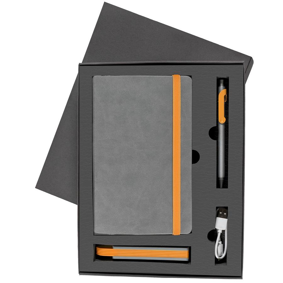 Набор  FANCY:универсальное зарядное устройство(2200мАh), блокнот и ручка в подарочной коробке,оранже