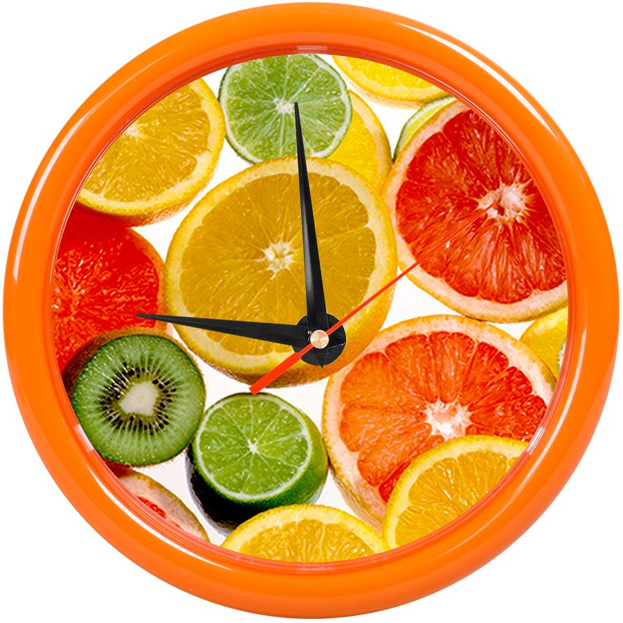 Часы настенные «PRINT» разборные ;  оранжевый, D24,5 см; пластик