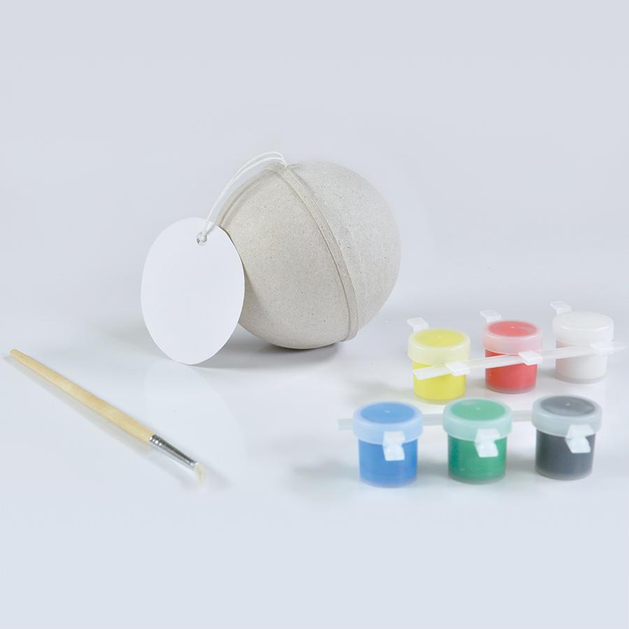 Набор для раскраски «ШАР», шар, кисть, краски,  D7 см,  папье-маше