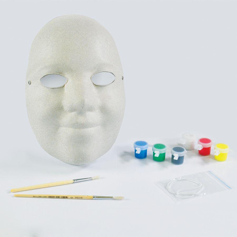 Набор для раскраски «МАСКА», маска, кисть, краски,   папье-маше