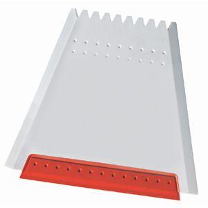 Скребок автомобильный «Трапеция»; белый с красным; 12х11 см; пластик; тампопечать, шелкография
