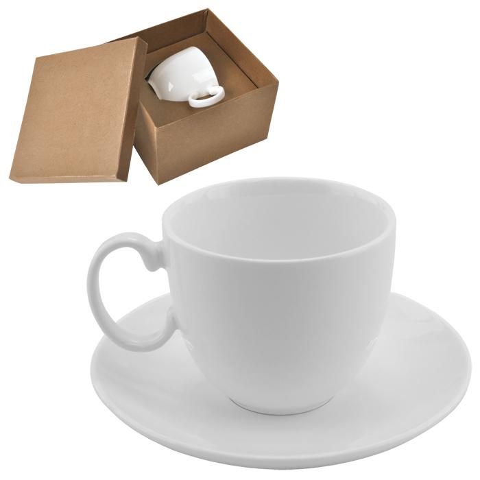 """Чайная пара """"Романтика"""" в подарочной упаковке; 16,5х16,5х11см,210мл; фарфор; деколь"""