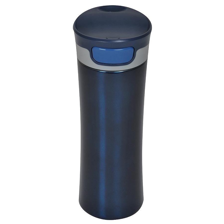 Термокружка дорожная вакуумная  «Формула»; 450 мл; синий,  пластик, металл; лазерная гравировка