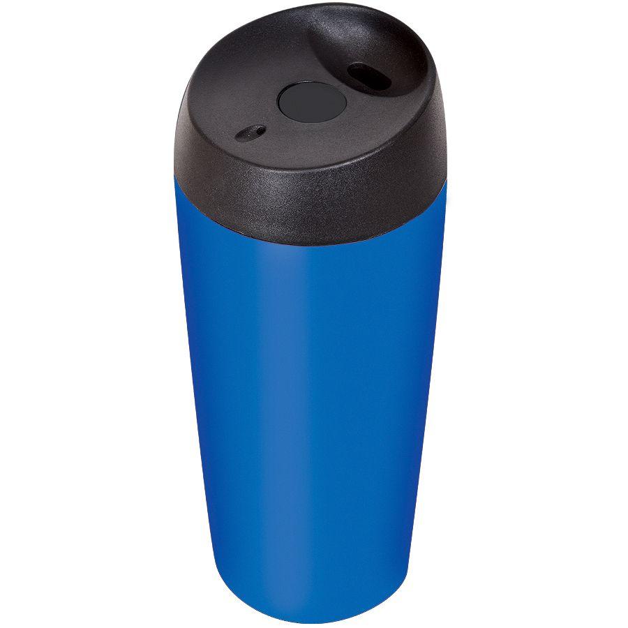 Термокружка дорожная «Гран-при»; 450 мл;  синий матовый; металл; лазерная гравировка