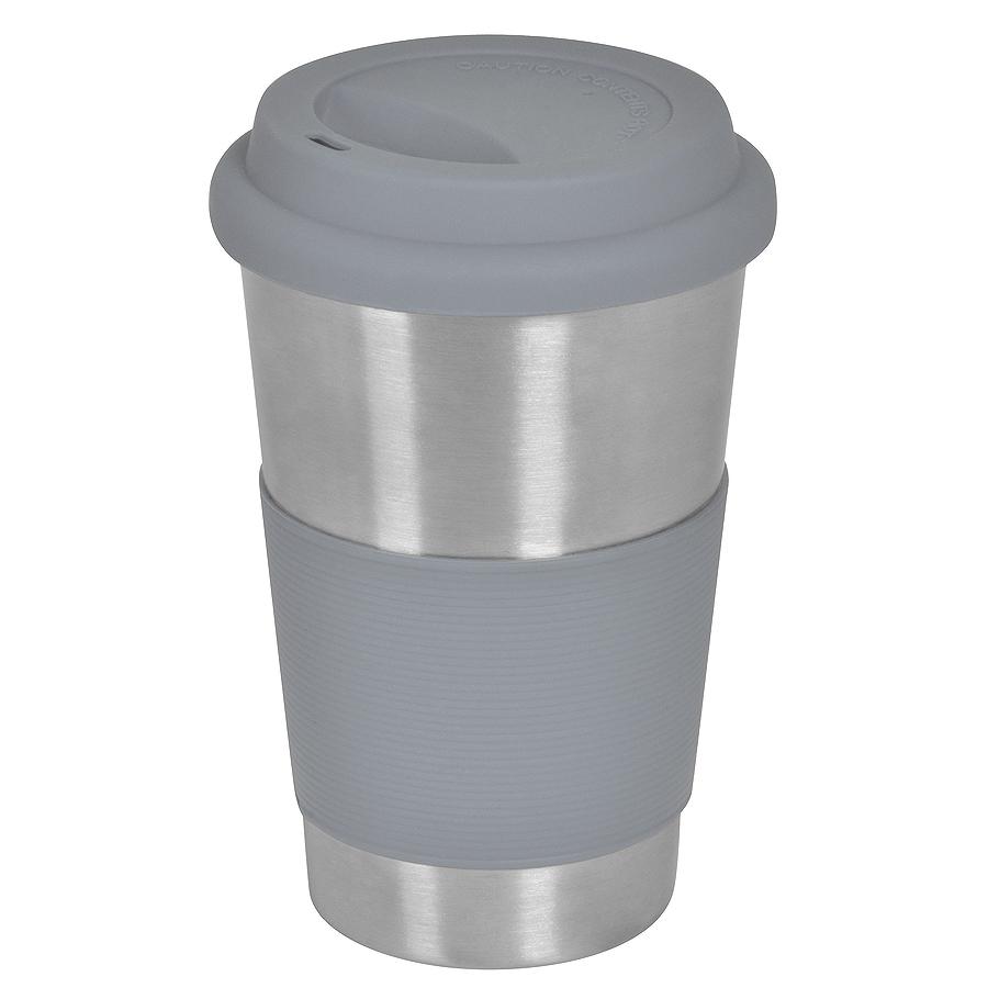 Термокружка  «Утро»; 350 мл;  серый,  металл/силикон; лазерная гравировка