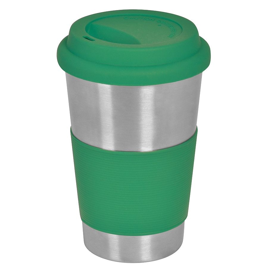 Фотография товара Термокружка  «Утро»; 350 мл;  зеленый, металл/силикон; лазерная гравировка