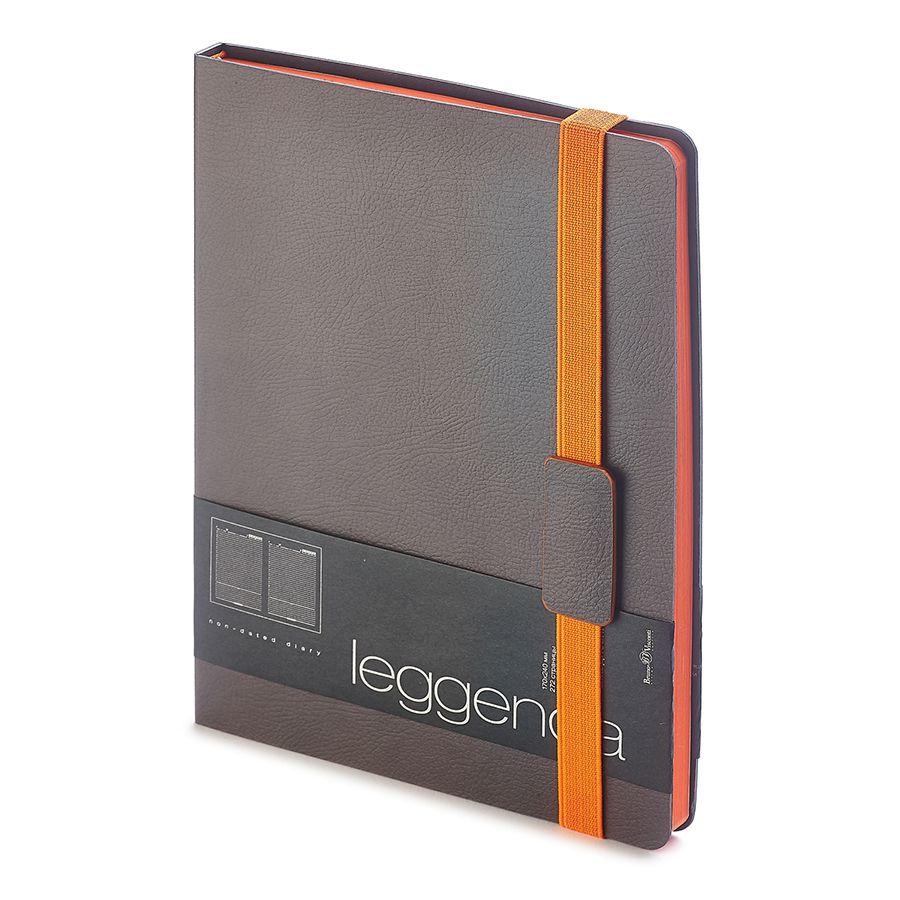 Ежедневник недатированный Leggenda, B5, серый, бежевый блок, оранжевый обрез, ляссе