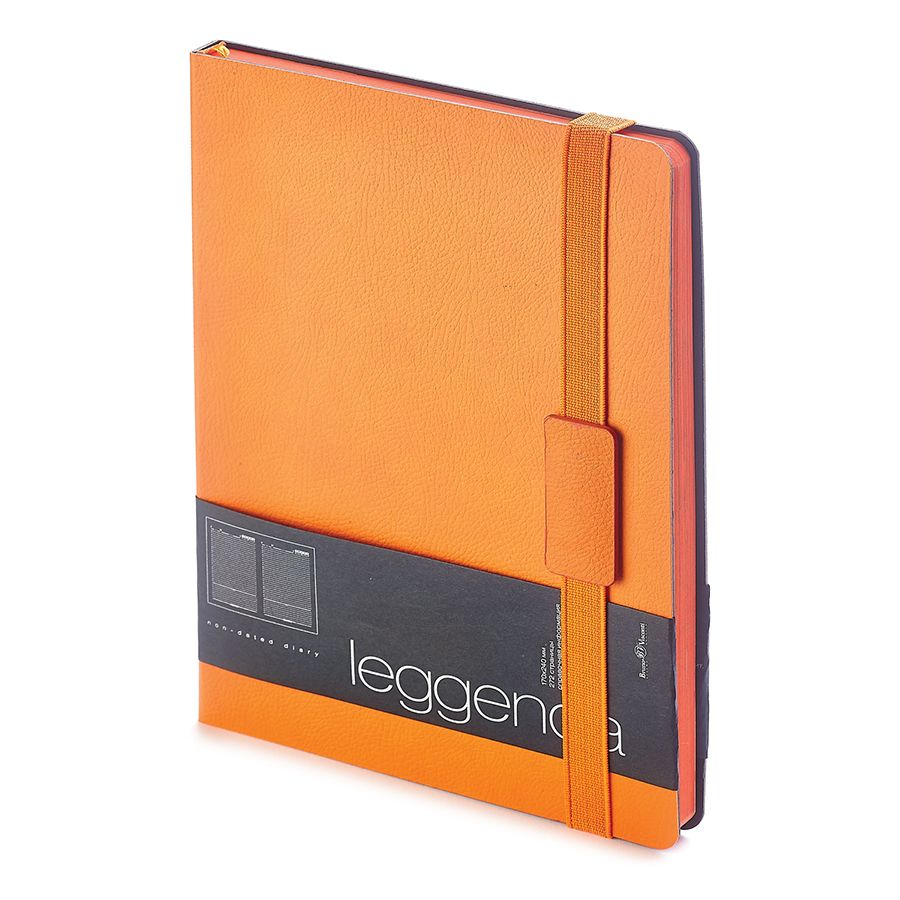 Ежедневник недатированный Leggenda, B5, оранжевый, бежевый блок, оранжевый обрез, ляссе