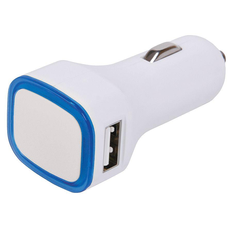 """Автомобильное зарядное устройство с подсветкой и двумя USB-портами """"Mobicar"""",6,8х2,2×3,1см, пластик"""