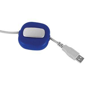 Катушка для USB-кабеля с фиксатором длины; синий; 6,3х5,9х2,4 см; пластик; тампопечать