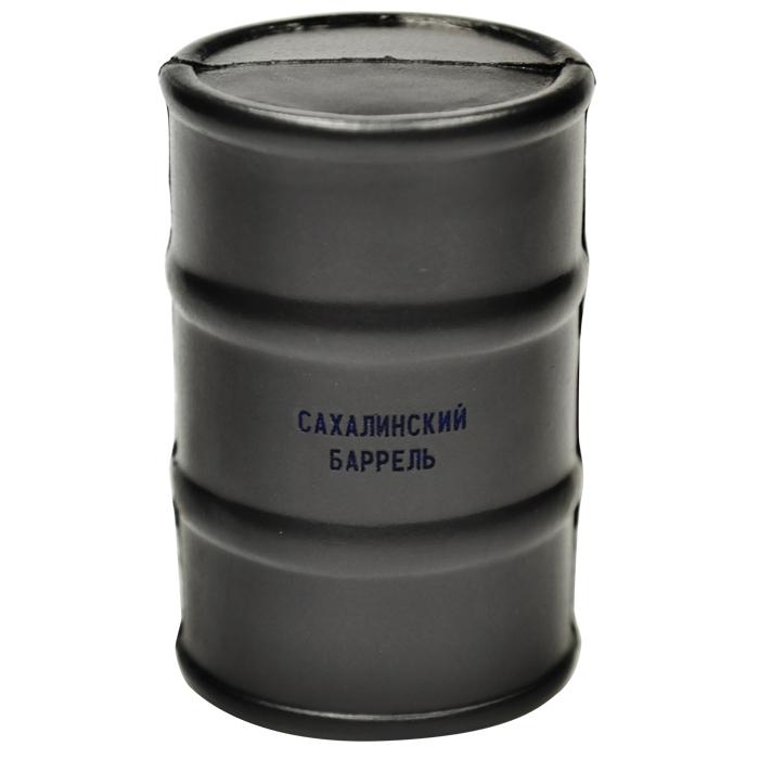 Антистресс «Бочка»; черный; 8,8х5,8 см; вспененный каучук; лазерная гравировка