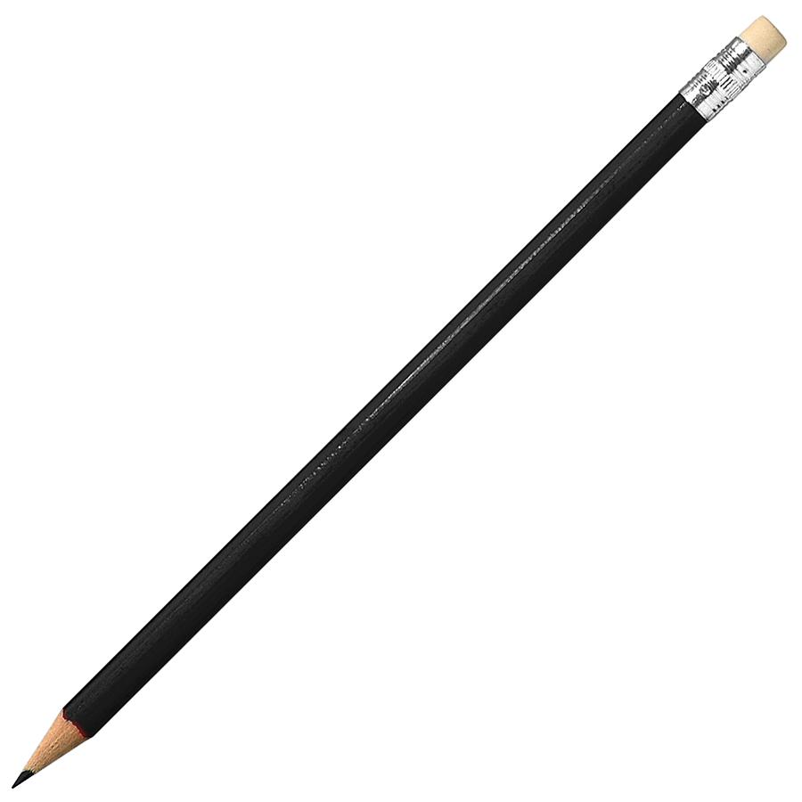 Карандаш простой с ластиком,черный, 18,6х0,7см,дерево