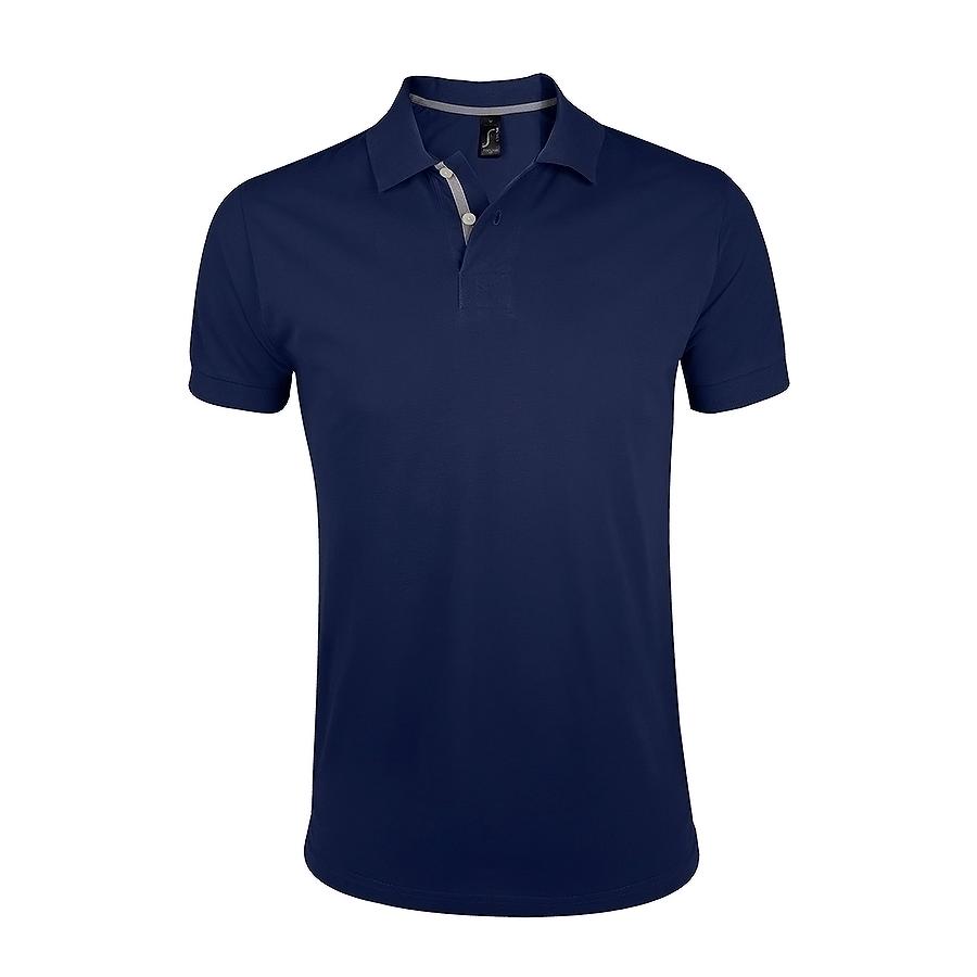 Поло «Portland Men» темно-синий, серый_2XL, 100% х/б, 200г/м2