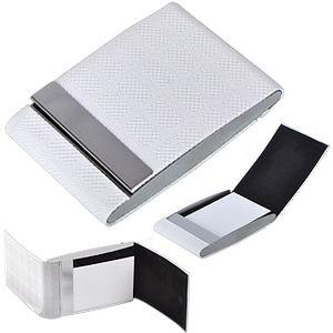 Фотография товара Визитница двухстороняя «Senator», белый, 9,5х6,5 см, металл, искусственная кожа, лазерная гравировка