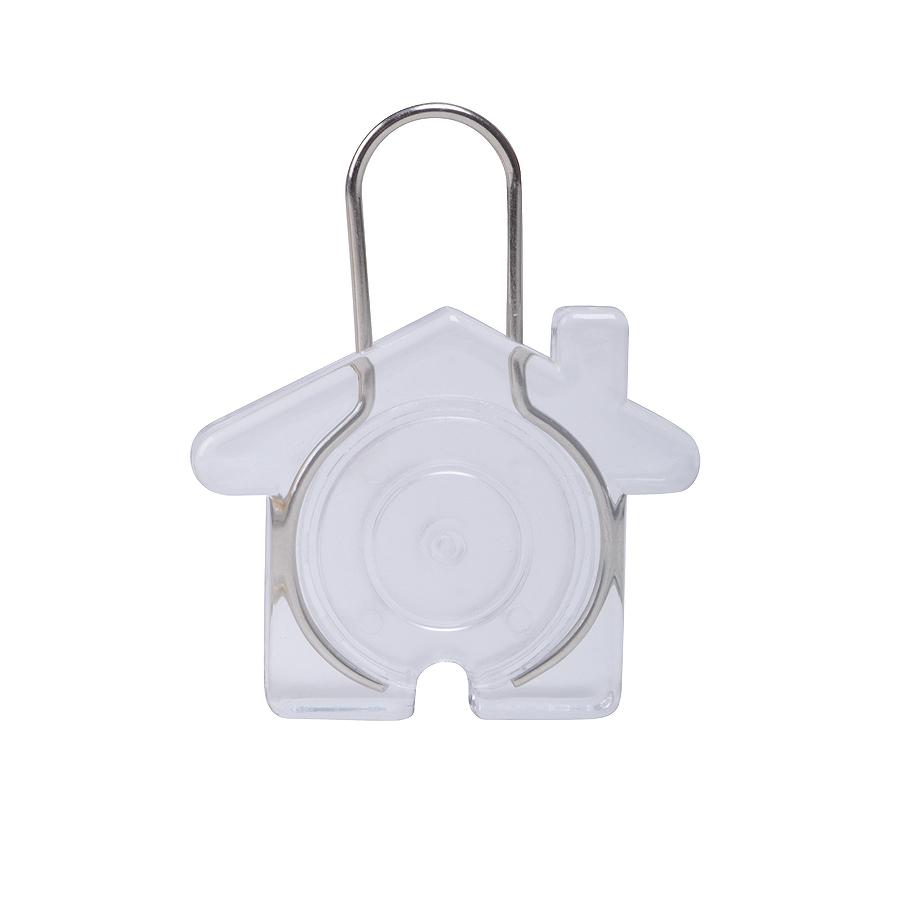 Брелок «Дом», прозрачный, 5,8х4,7х0,9см, пластик, металл