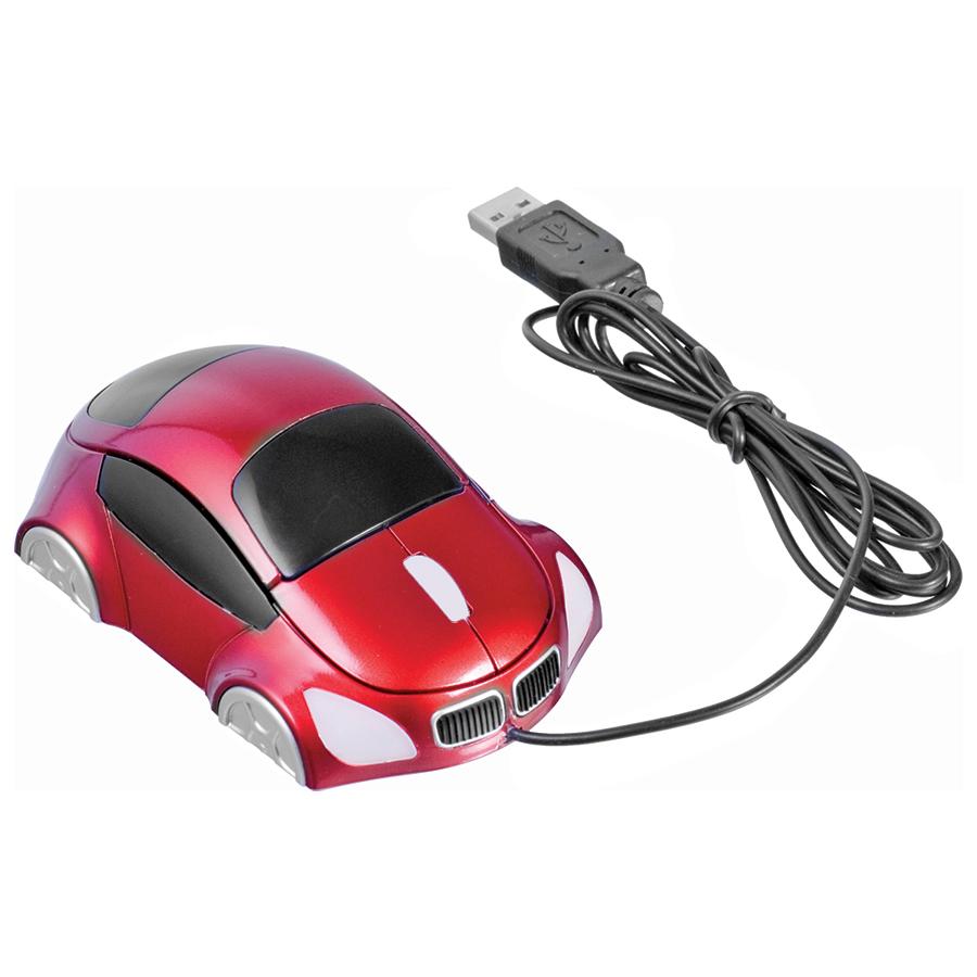 """Мышь компьютерная оптическая """"Автомобиль""""; красный; 10,4х6,4х3,7см; пластик; тампопечать"""