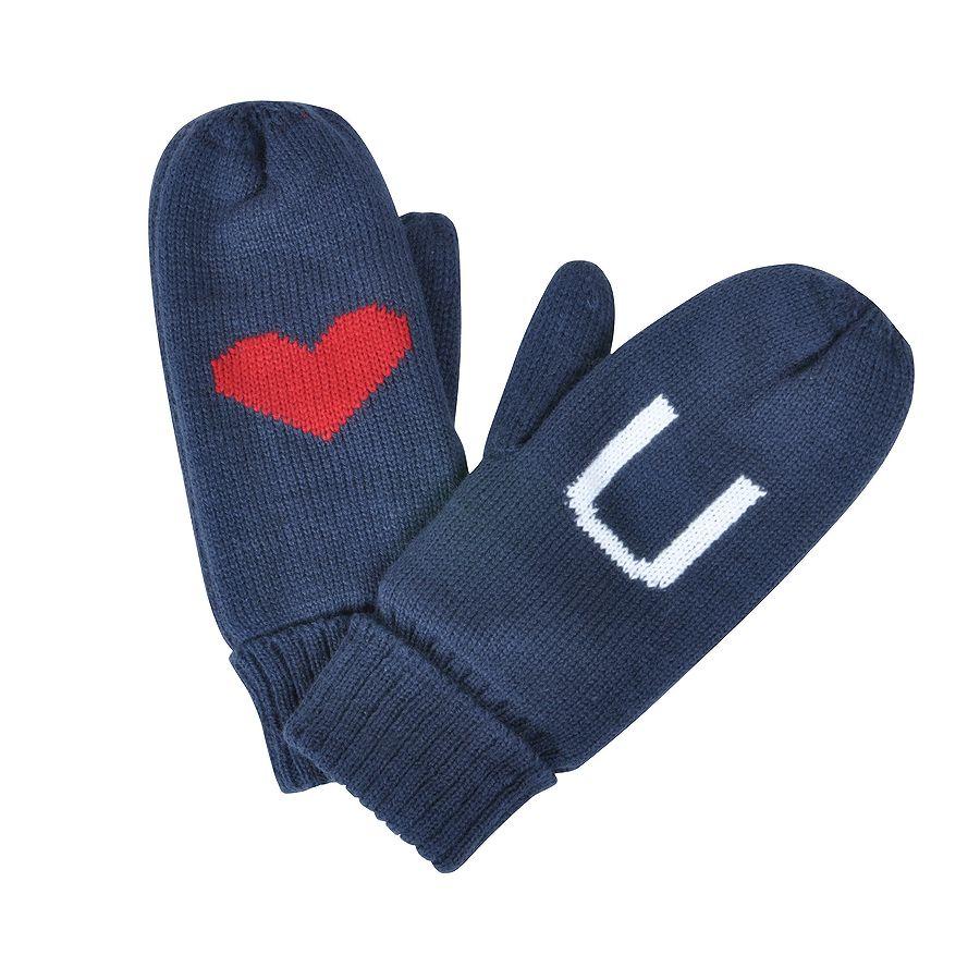 Фотография товара Варежки «LOVE YOU»,   синий, М, акрил/флис внутри,  шеврон