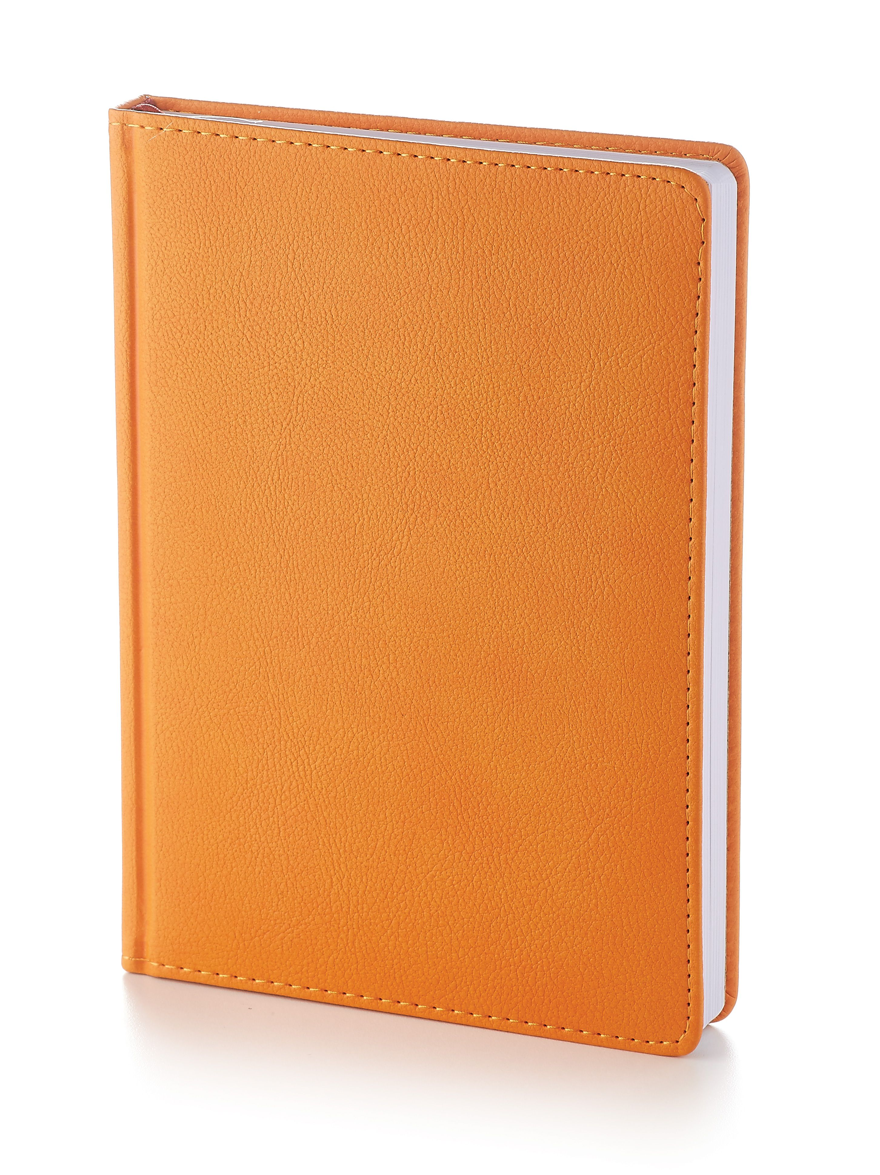 Ежедневник недатированный Leader New, А5, оранжевый, белый блок, закругленные углы, без обреза