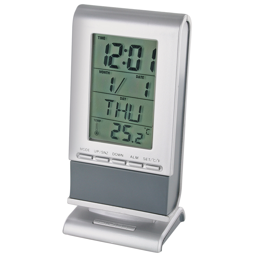 Часы, календарь, термометр с подсветкой «ПРОГНОЗ»; серый; 6,8х5х14 см; пластик; тампопечать