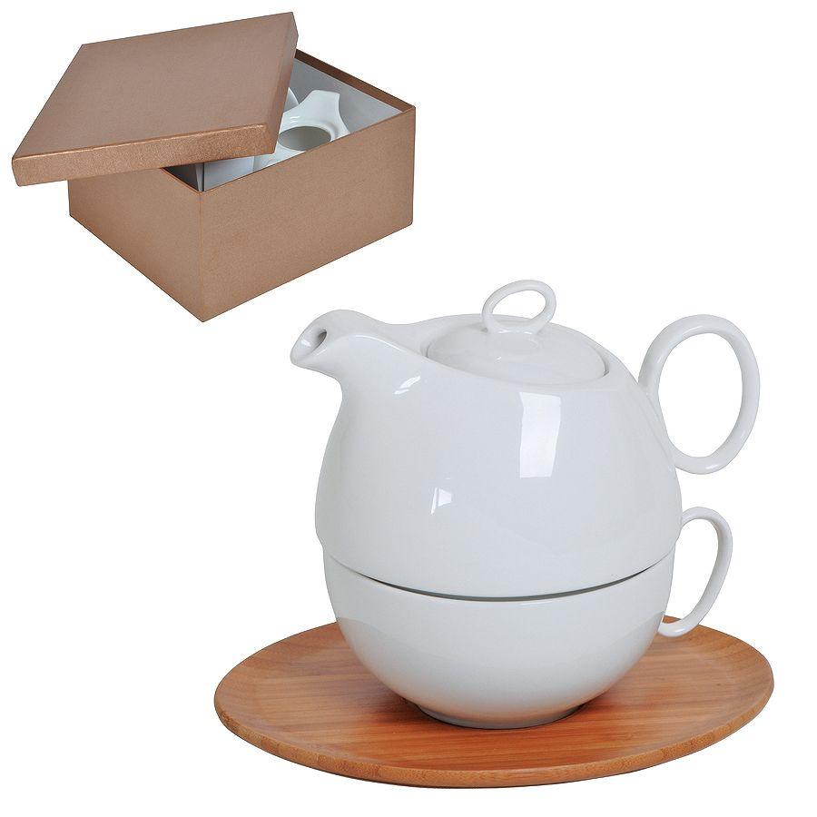 Набор «Мила»: чайник и чайная пара в подарочной упаковке, 21,5х24х12см,500мл и 300мл, фарфор, бамбук