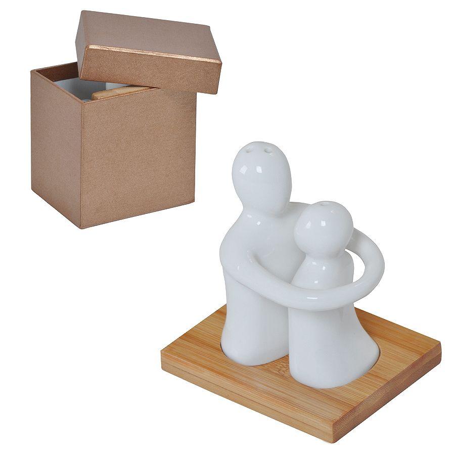 Набор «Объятия»: солонка и перечница в подарочной упаковке, 9х8х9,5см, фарфор, бамбук