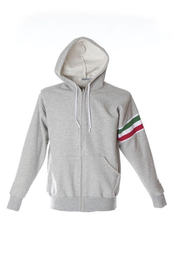VERONA Толстовка Италия с капюшоном, на молнии, серый меланж, размер XXL