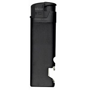 Зажигалка пьезо ISKRA с открывалкой, черная, 8,2х2,5х1,2 см, пластик/тампопечать
