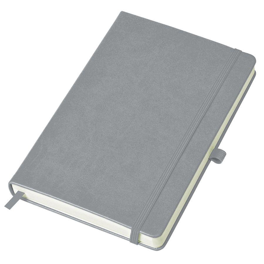 Фотография товара Бизнес-блокнот «Justy», 130*210 мм, серый, твердая обложка,  резинка 7 мм, блок-линейка, тиснение