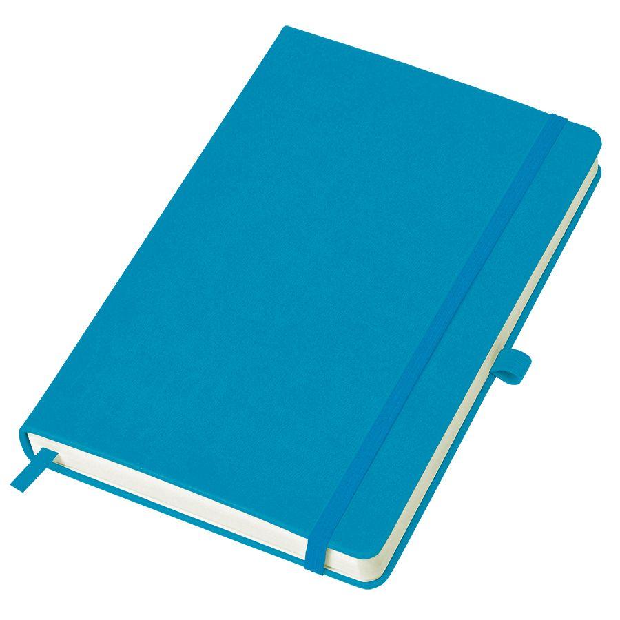 Фотография товара Бизнес-блокнот «Justy», 130*210 мм, голубой, твердая обложка,  резинка 7 мм, блок-линейка, тиснение
