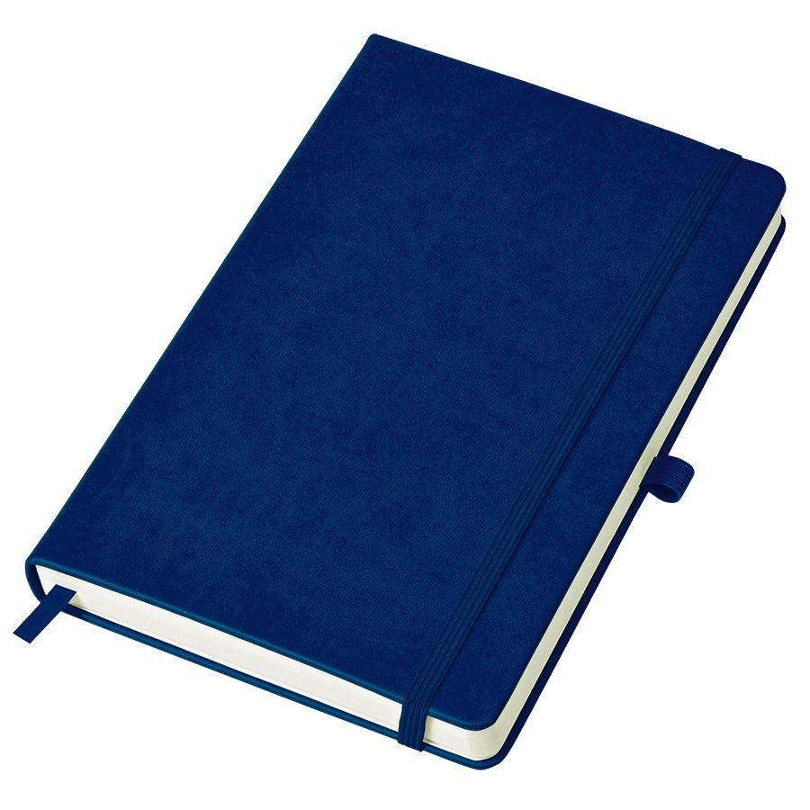 Фотография товара Бизнес-блокнот «Justy», 130*210 мм, темно-синий,  тв. обложка,  резинка 7 мм, блок-линейка, тиснение