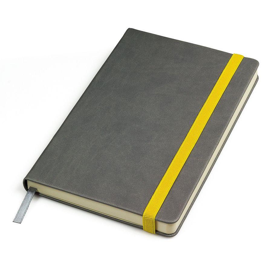 Бизнес-блокнот «Fancy», 130*210 мм, серый/желтый, твердая обложка,  резинка 10 мм, блок-линейка