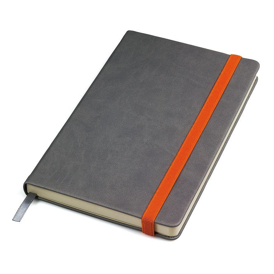 Бизнес-блокнот «Fancy», 130*210 мм, серый/оранжевый, твердая обложка,  резинка 10 мм, блок-линейка