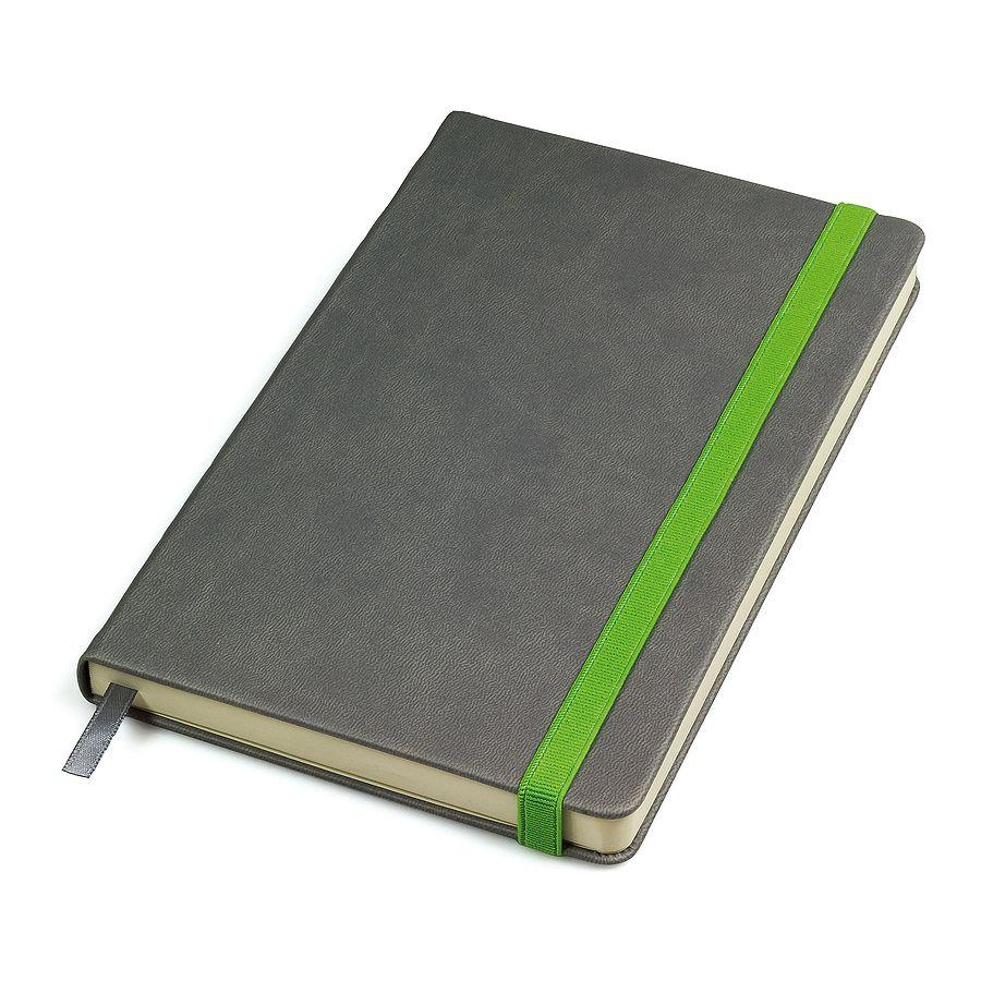 Бизнес-блокнот «Fancy», 130*210 мм, серый/зеленый, твердая обложка,  резинка 10 мм, блок-линейка