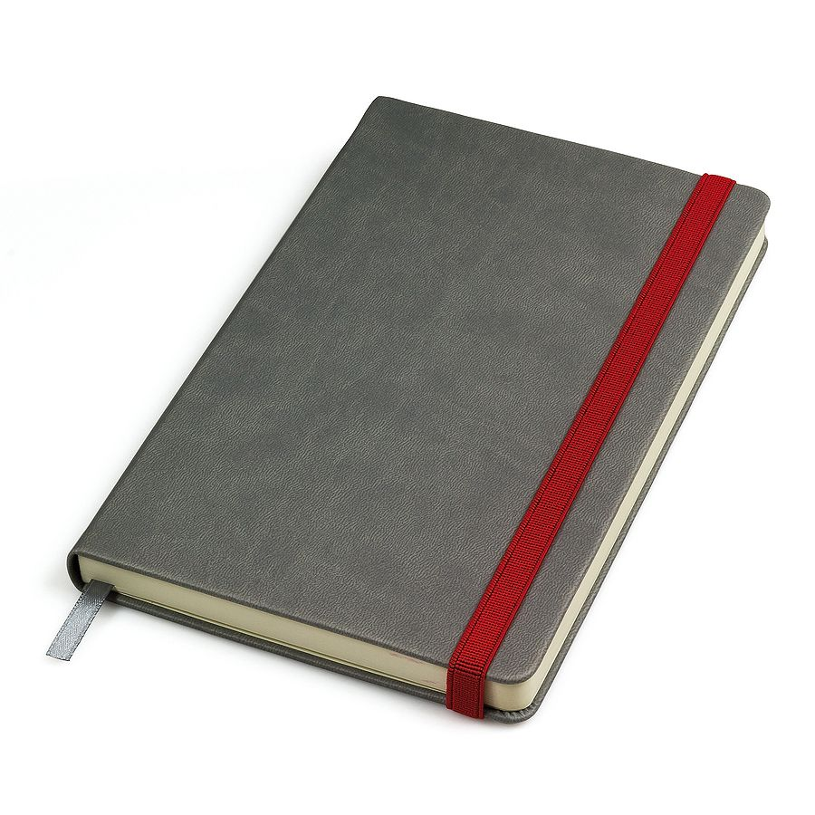 Фотография товара Бизнес-блокнот «Fancy», 130*210 мм, серый/красный, твердая обложка,  резинка 10 мм, блок-линейка